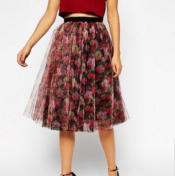 ASOS Dresses & Skirts - ASOS Floral Tulle Midi Skirt, Size 4, NWOT